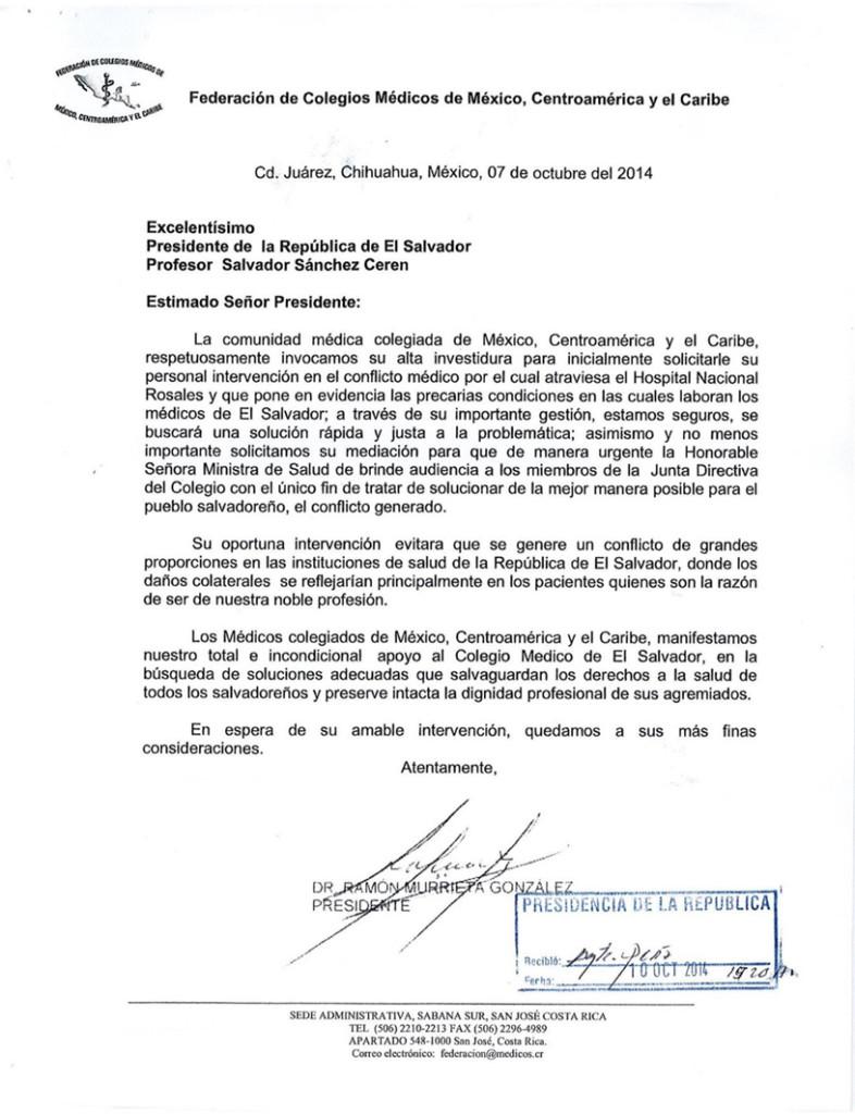 Correspondencia del Colegio Médico de Honduras en apoyo a los médicos salvadoreños que denuncian deficiencias en el sistema de salud.