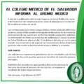 INFORMACIÓN IMPORTANTE PARA EL GREMIO MÉDICO