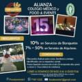 ALIANZA COLEGIO MÉDICO Y FOOD & EVENTS Descuentos del 7%, 10% hasta el 50%