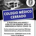 OFICINAS ADMINISTRATIVAS Y ÁREAS DE ATENCIÓN CERRADAS HASTA EL DÍA LUNES 23 DE MARZO