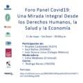 FORO PANEL COVID-19: UNA MIRADA INTEGRAL DESDE LOS DERECHOS HUMANOS, LA SALUD Y LA ECONOMÍA