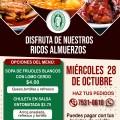 MIERCOLES 28 DE OCTUBRE DISFRUTA DE NUESTROS RICOS ALMUERZOS
