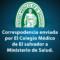 CORRESPODENCIA ENVIADA POR EL COLEGIO MÉDICO DE EL SALVADOR A MINISTERIO DE SALUD…